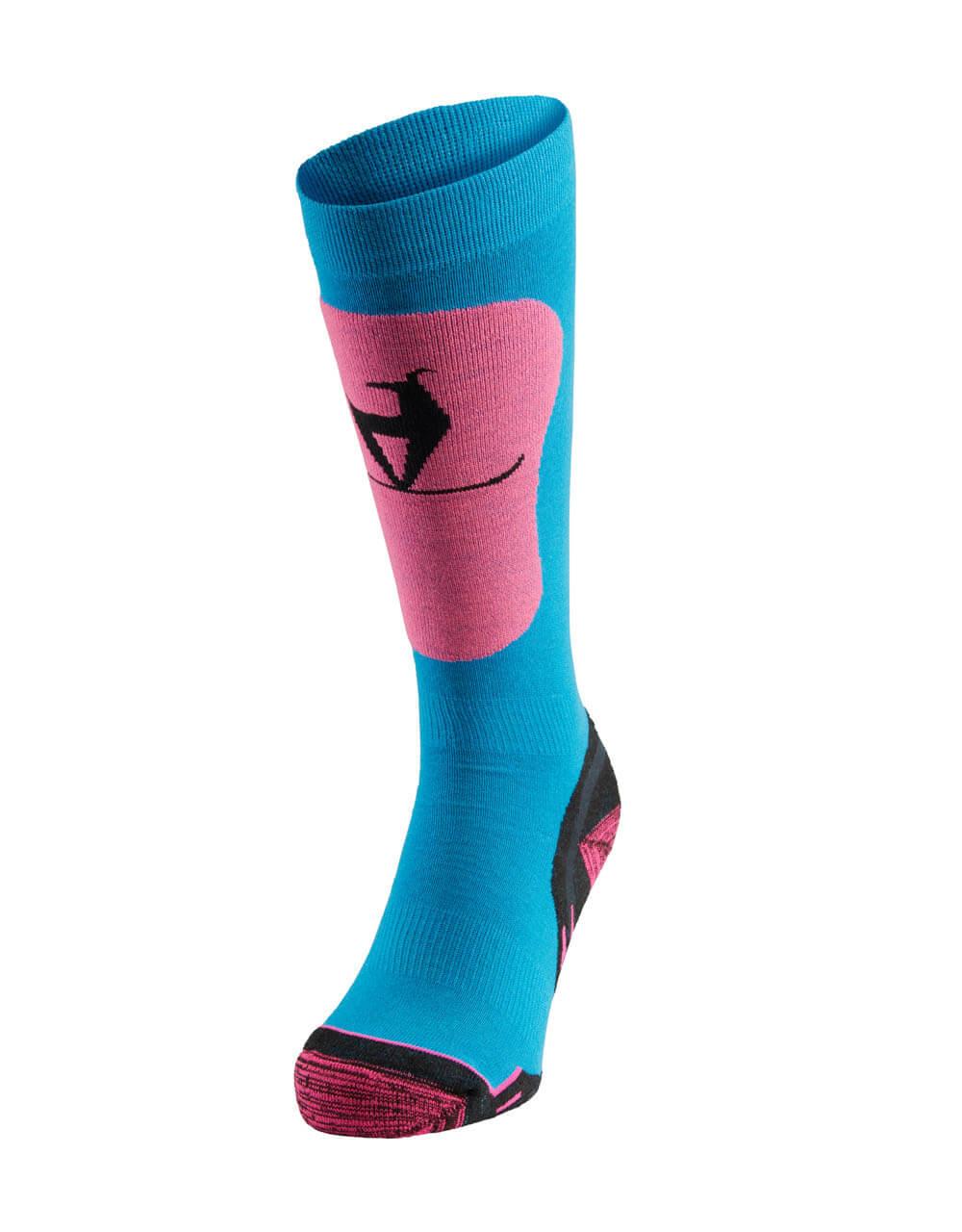 726038241 Skisocken Damen neon pink blau 1